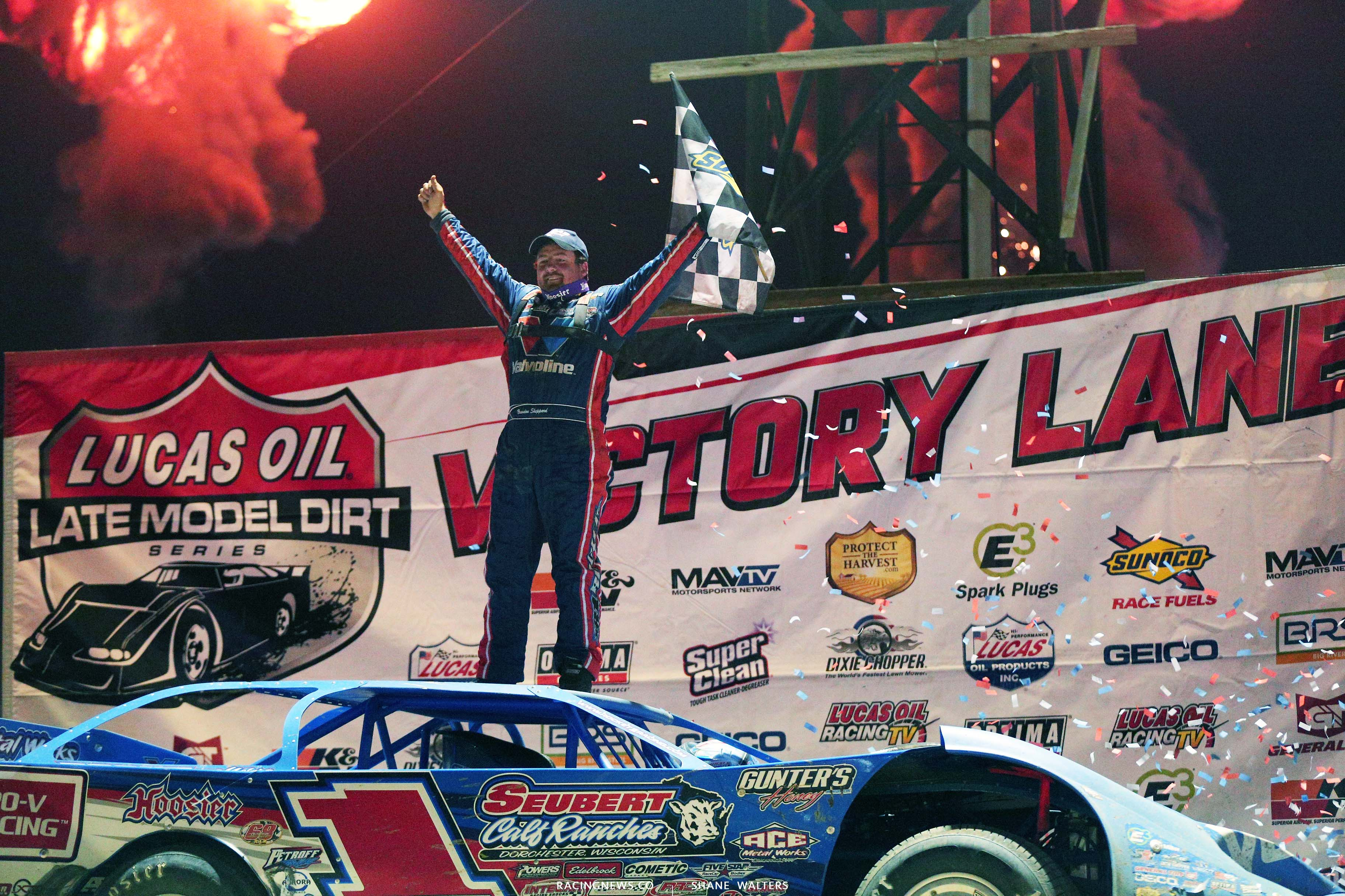 Brandon Sheppard in victory lane at Portsmouth Raceway Park 5846