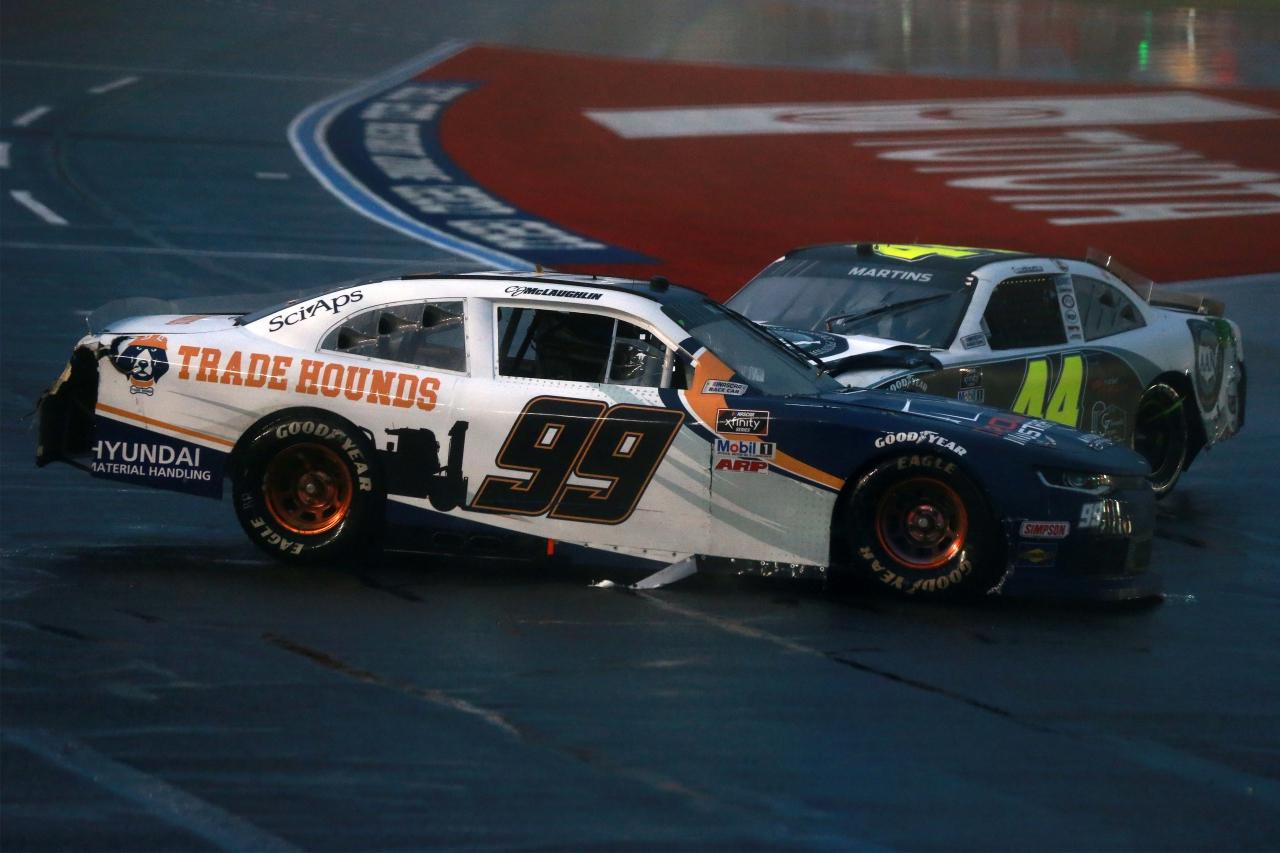 CJ McLaughlin and Tommy Joe Martins crash in the rain on the Charlotte ROVAL - NASCAR Xfinity Series
