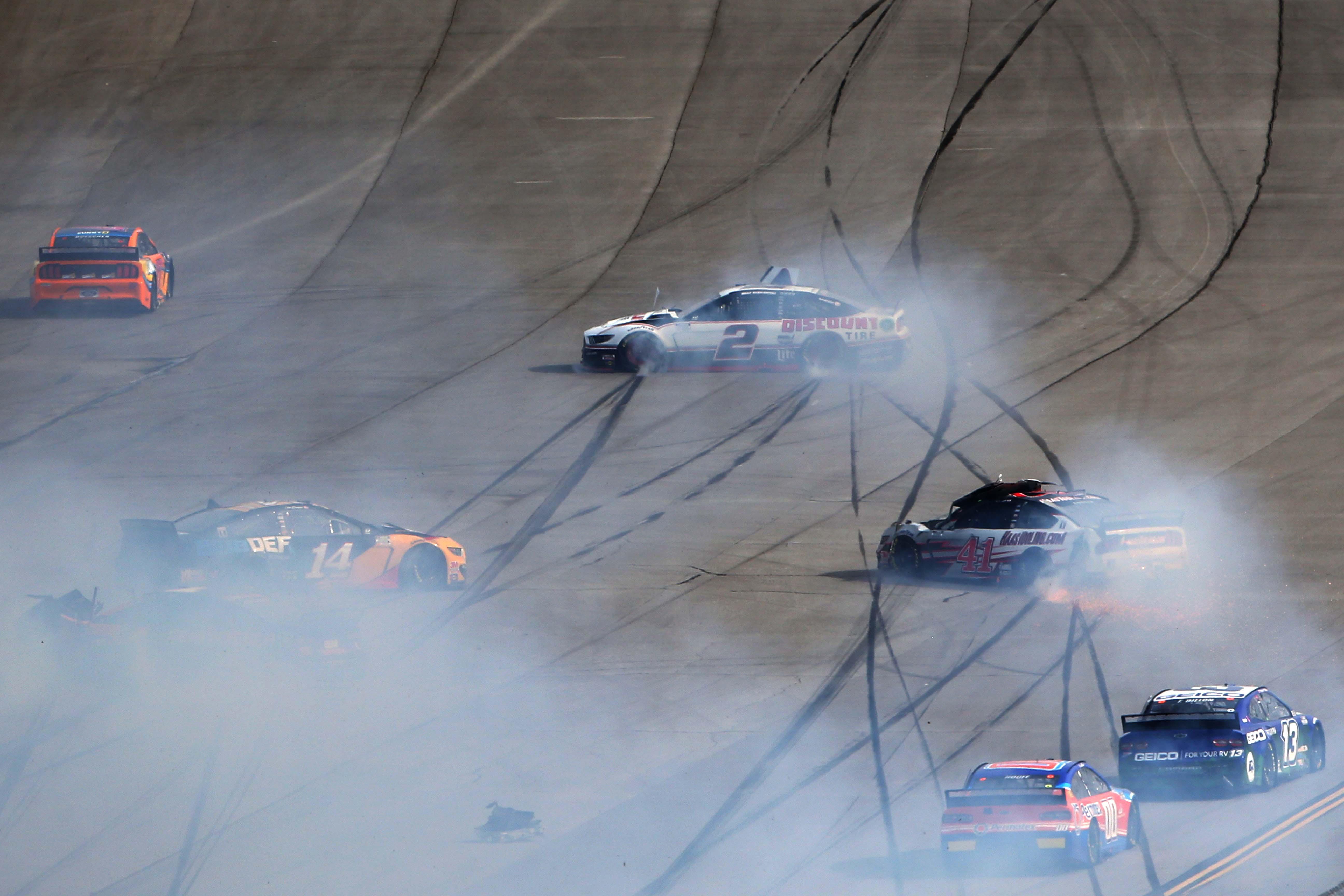 Clint Bowyer and Brad Keselowski crash at Talladega Superspeedway - NASCAR Cup Series