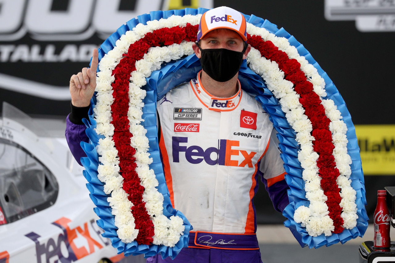 Denny Hamlin in victory lane at Talladega Superspeedway - NASCAR Cup Series