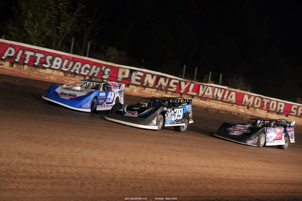 Devin Moran, Tim McCreadie and Ricky Thornton Jr at Pittsburghs Pa Motor Speedway - Lucas Oil Late Models 5059