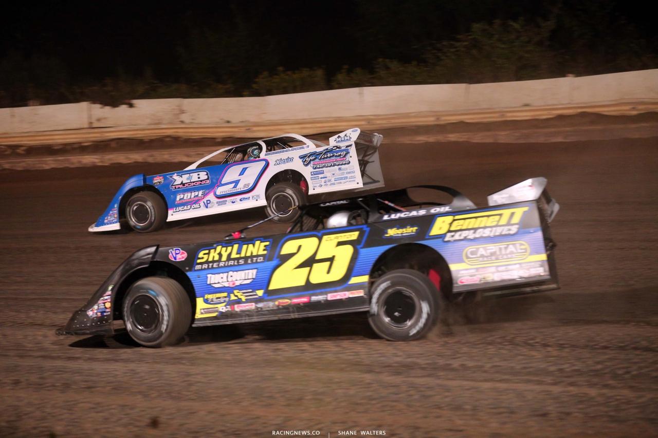 Devin Moran and Shane Clanton at Pittsburghs PA Motor Speedway - Lucas Oil Series 4786