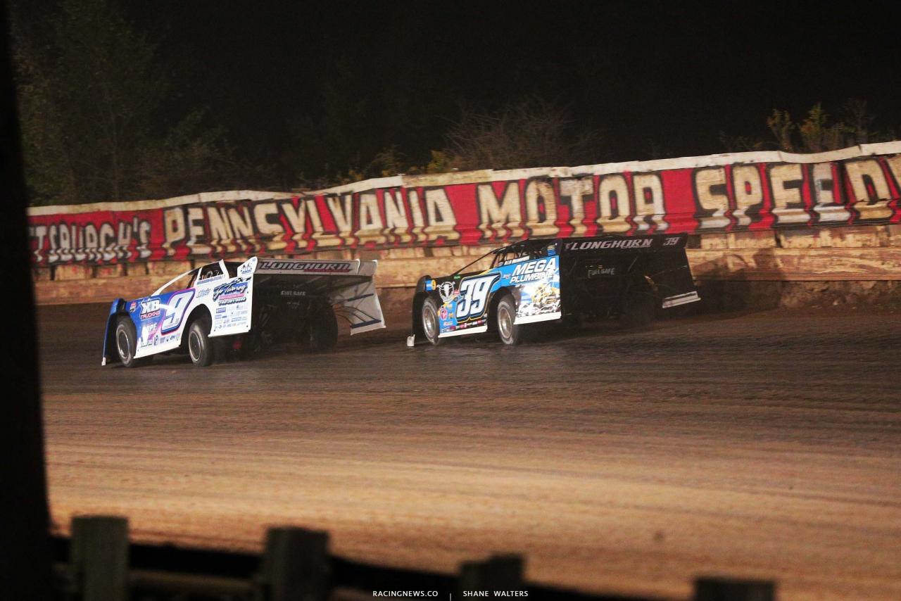 Devin Moran and Tim McCreadie at PPMS - Lucas Oil Series - Dirt Late Model Racing 4958