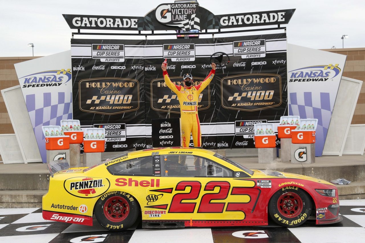 Joey Logano in victory lane at Kansas Speedway - NASCAR Cup Series