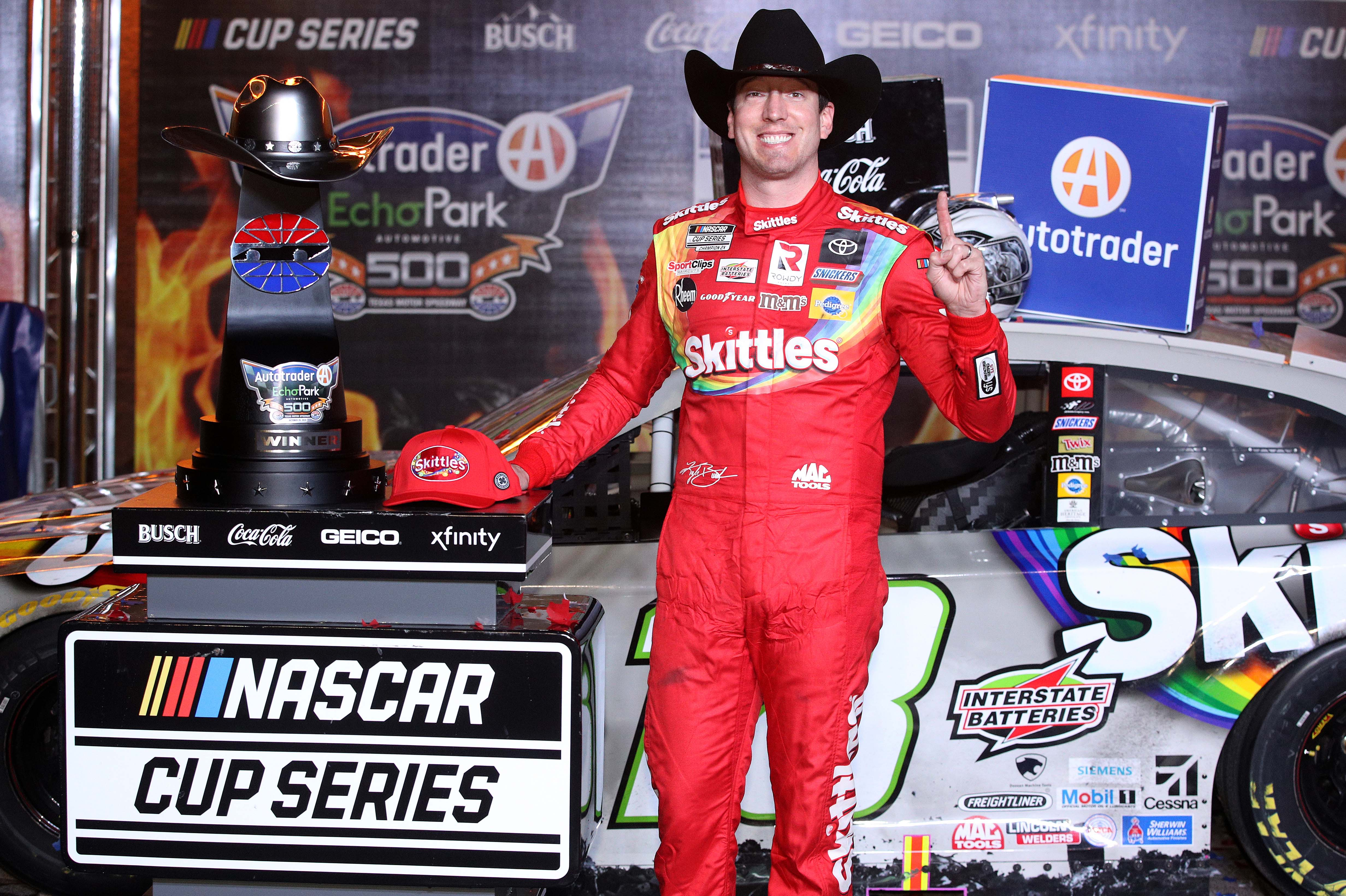Kyle Busch in victory lane at Texas Motor Speedway - NASCAR Cup Series