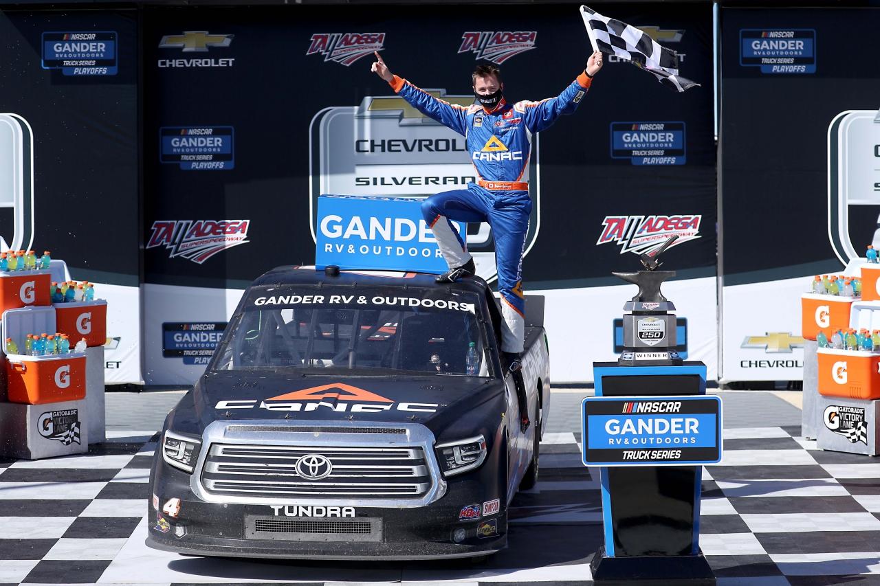 Raphael Lessard in victory lane at Talladega Superspeedway - NASCAR Truck Series