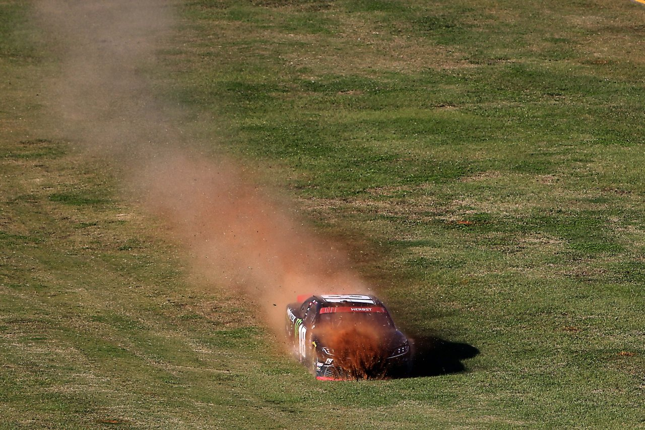Riley Herbst in the grass at Talladega Superspeedway - NASCAR Xfinity Series