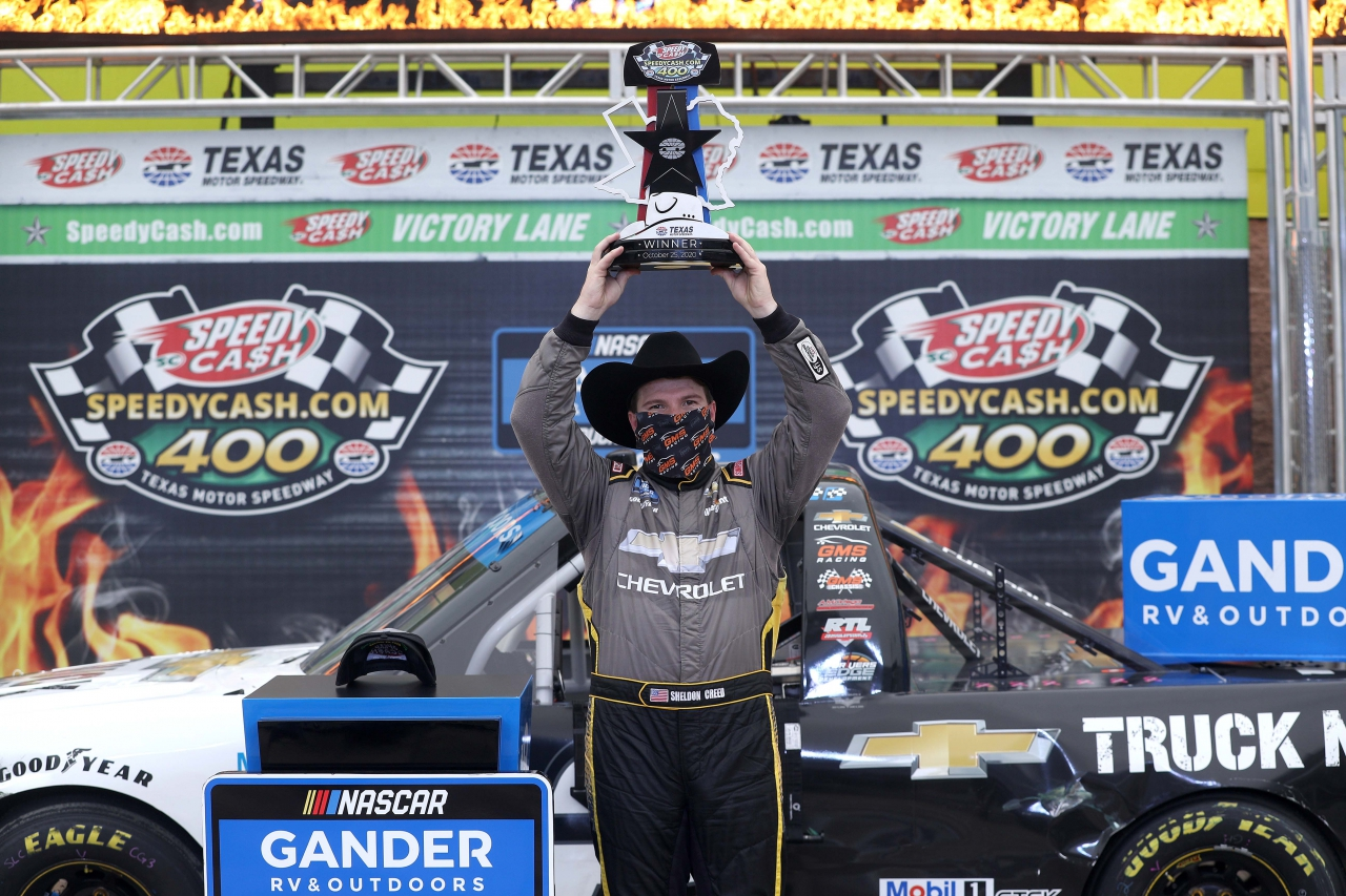 Sheldon Creed in victory lane for the NASCAR Truck Series at Texas Motor Speedway