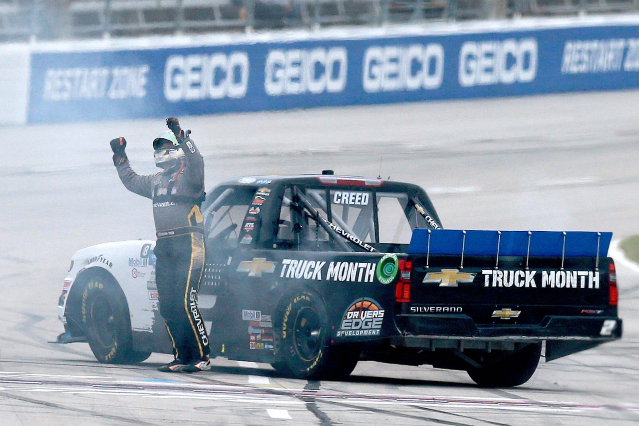 Sheldon Creed wins the NASCAR Truck Series at Texas Motor Speedway