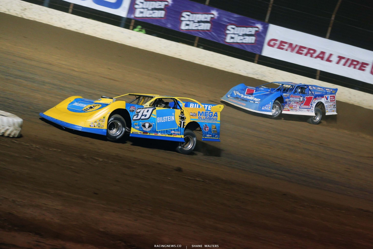 Tim McCreadie and Brandon Sheppard at Portsmouth Raceway Park - Dirt Track World Championship - Lucas Late Model 5557