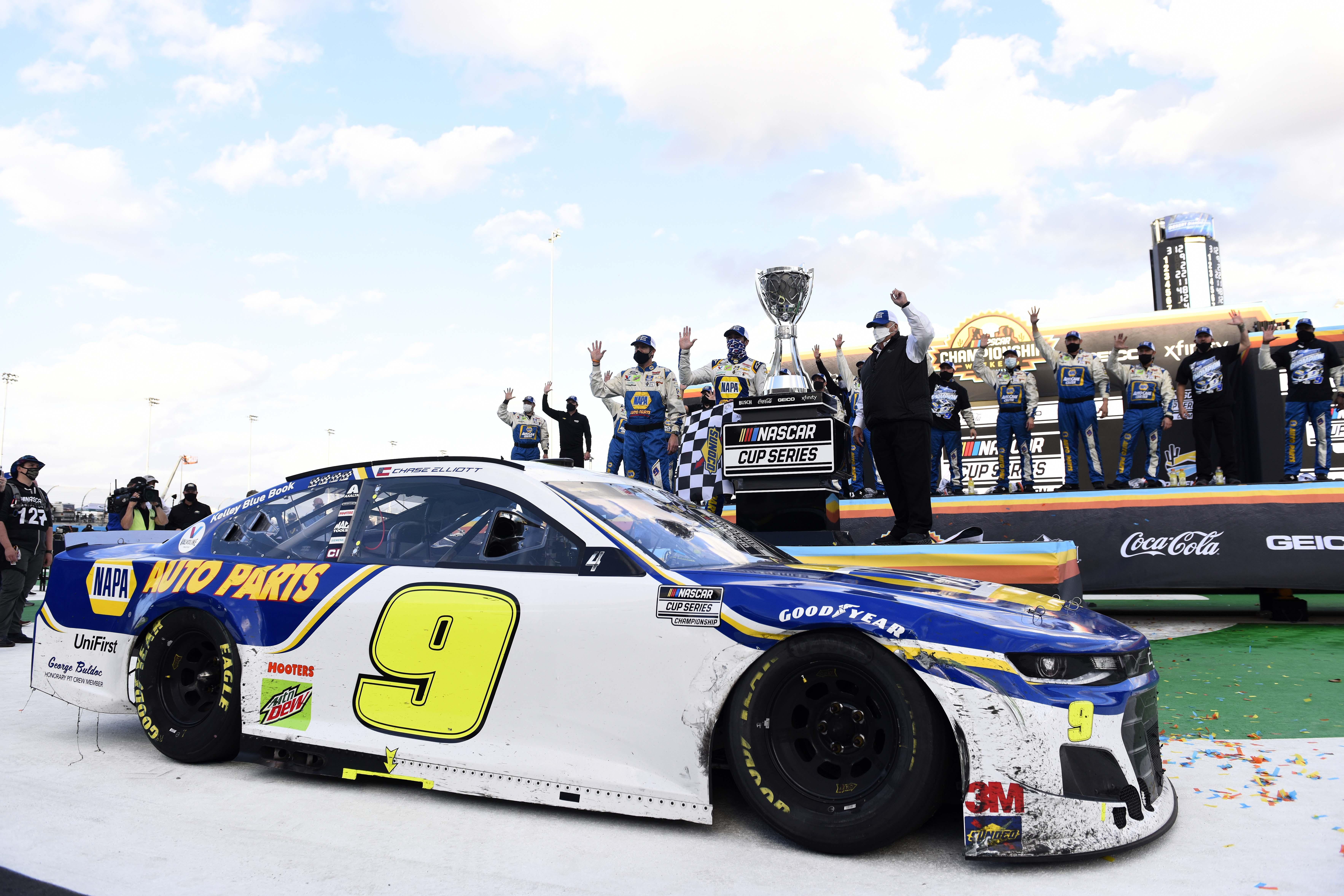 Chase Elliott in victory lane - 2020 NASCAR champion