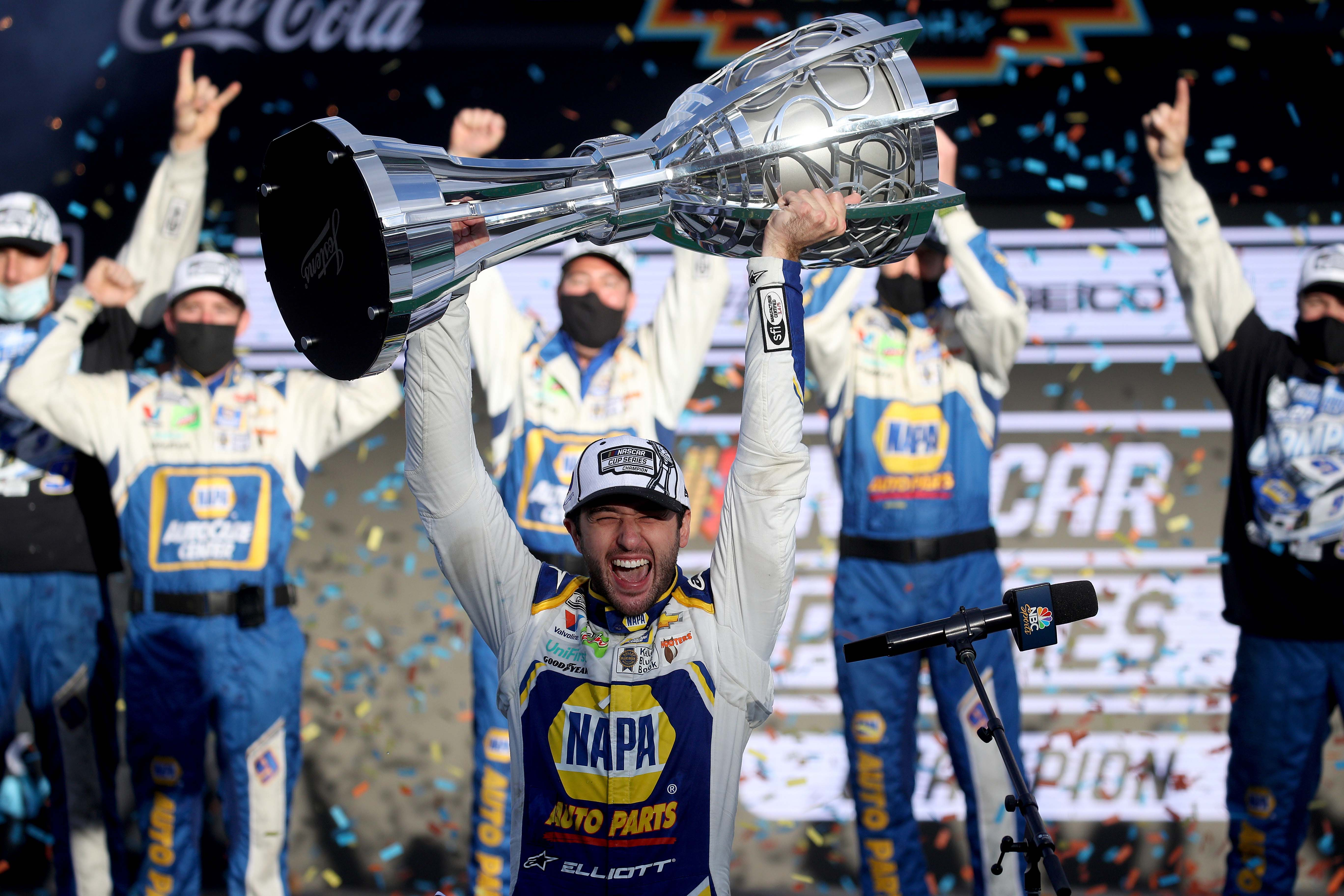 Chase Elliott with the NASCAR Cup trophy