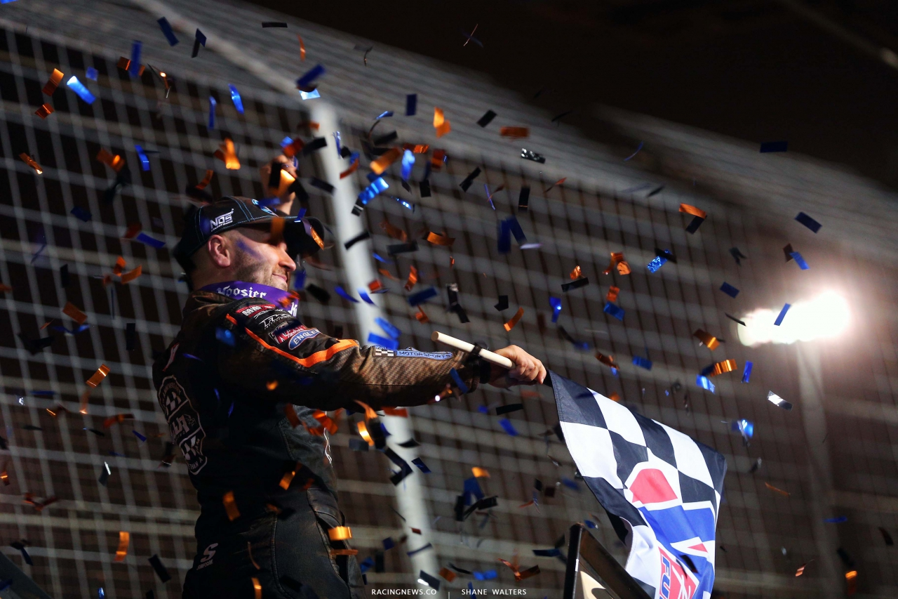 David Gravel in victory lane on The Dirt Track at Charlotte - World of Outlaws Sprint Cars 6862