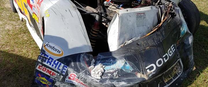 Race car rental driver crashes through Florida speedway bathroom (Photos)