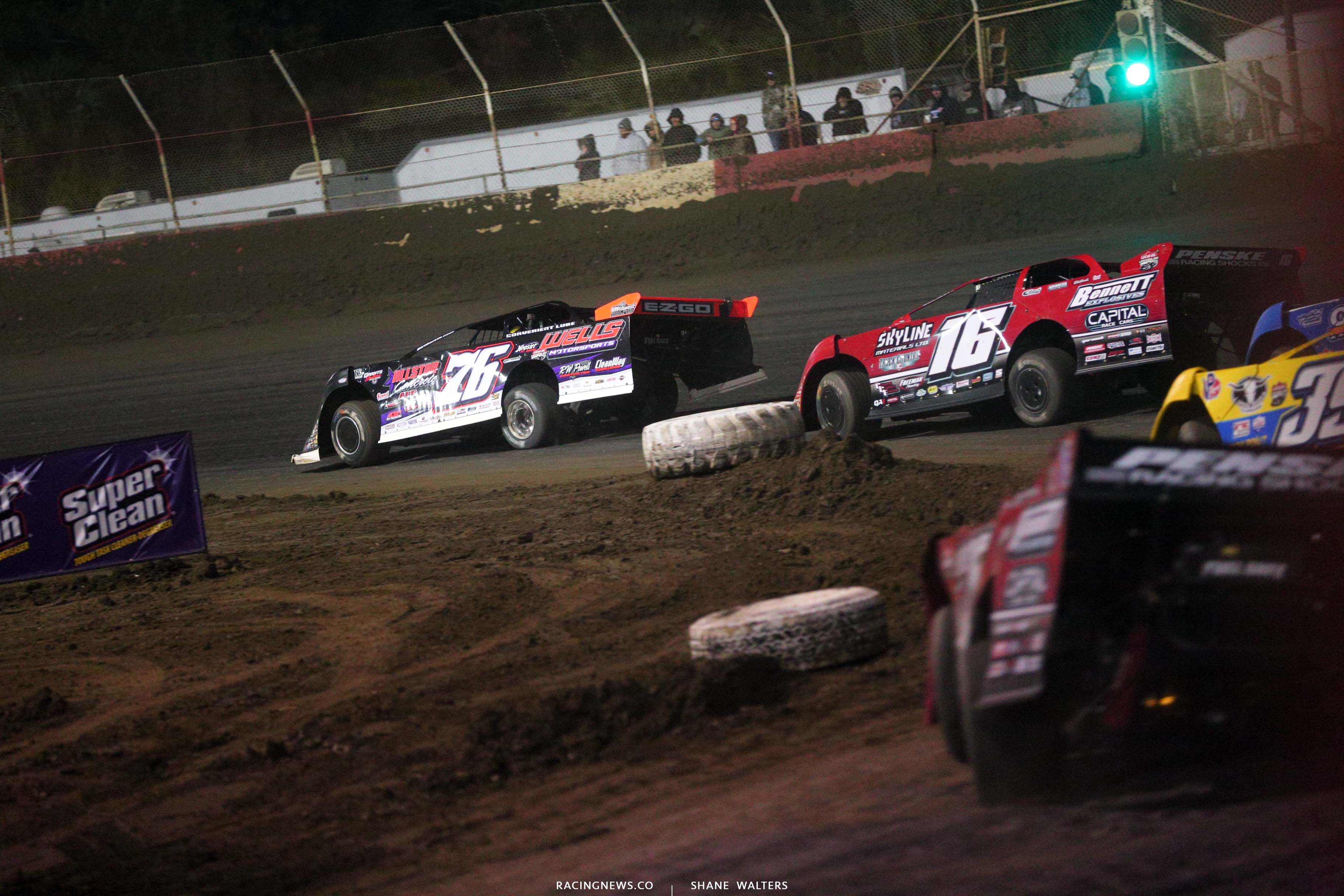 Brandon Overton and Tyler Bruneing at East Bay Raceway Park - Dirt Racing 8694