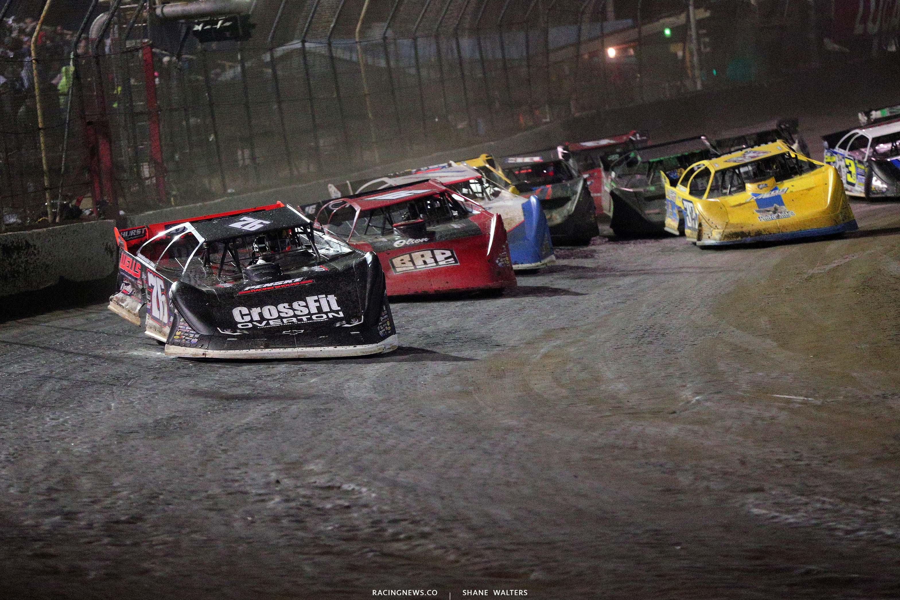 Brandon Overton leads Tyler Bruening at East Bay Raceway Park - Lucas Oil Late Models 8663