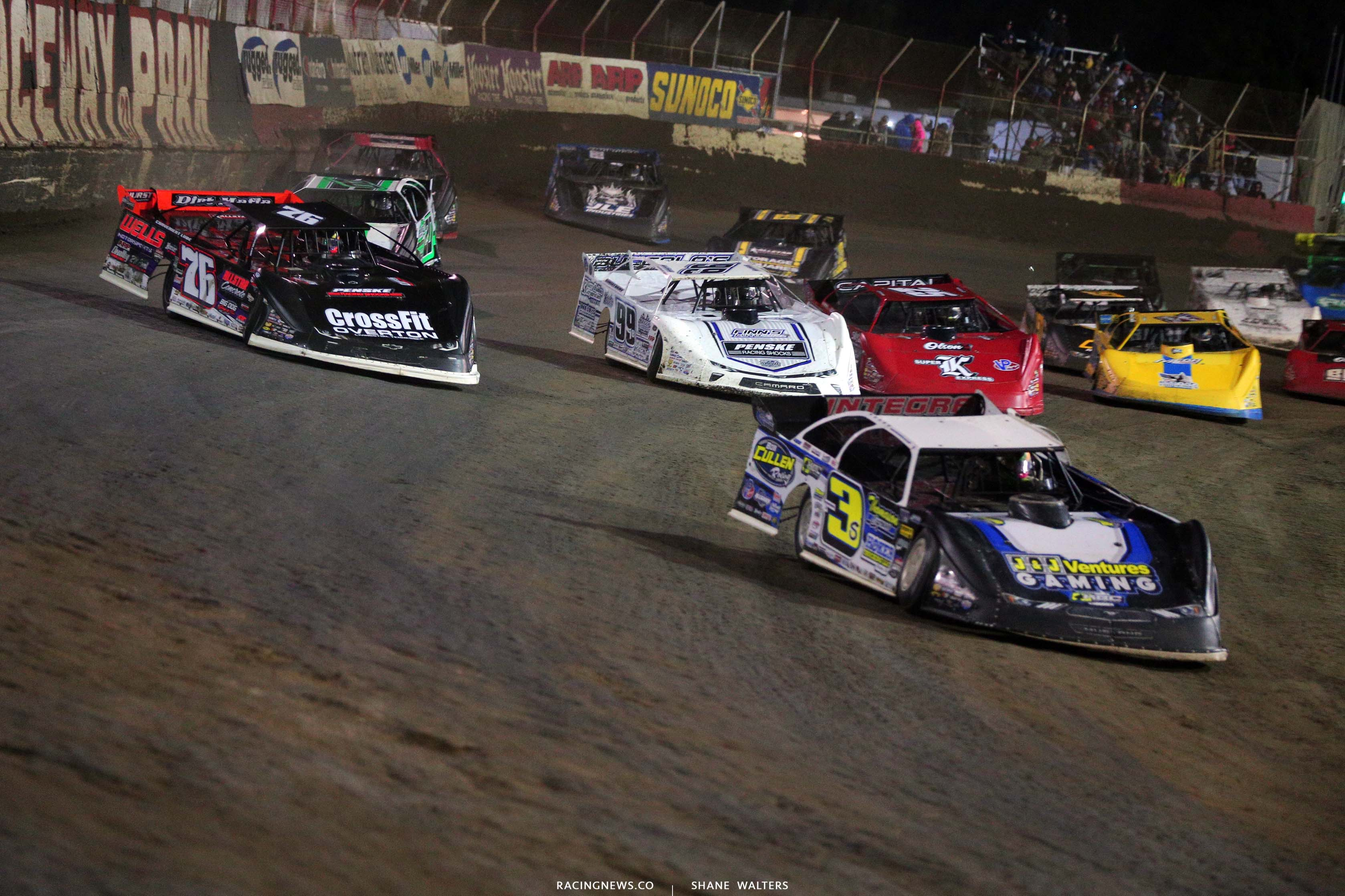 Brian Shirley, Brandon Overton and Boom Briggs at East Bay Raceway Park - Lucas Late Models 8479