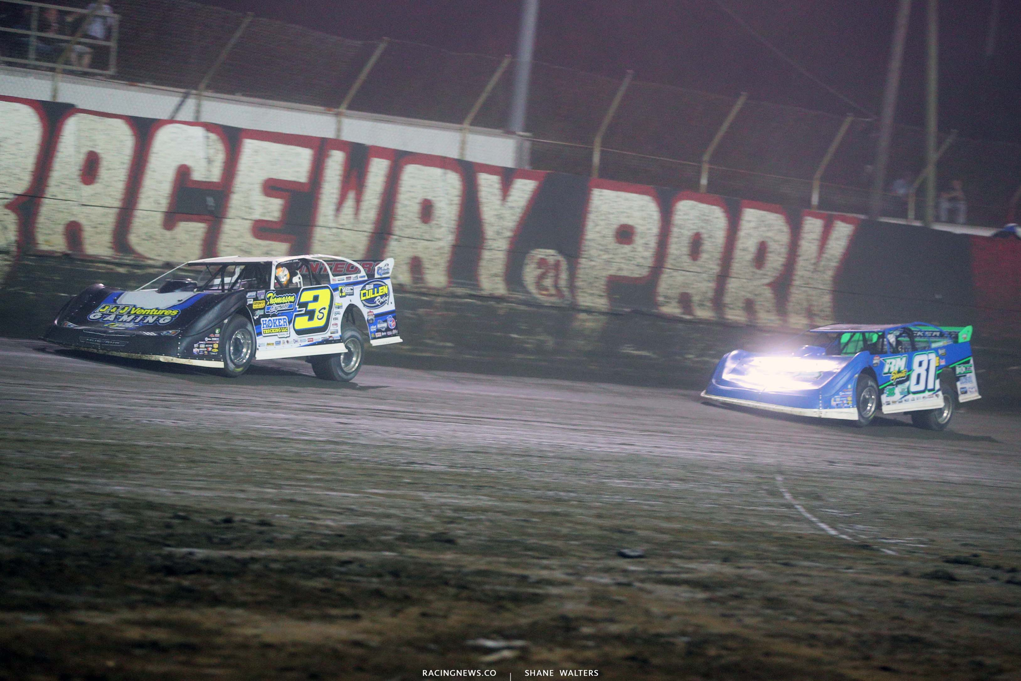 Brian Shirley and Tanner English at East Bay Raceway Park - Lucas Oil Late Model Dirt Series 7822