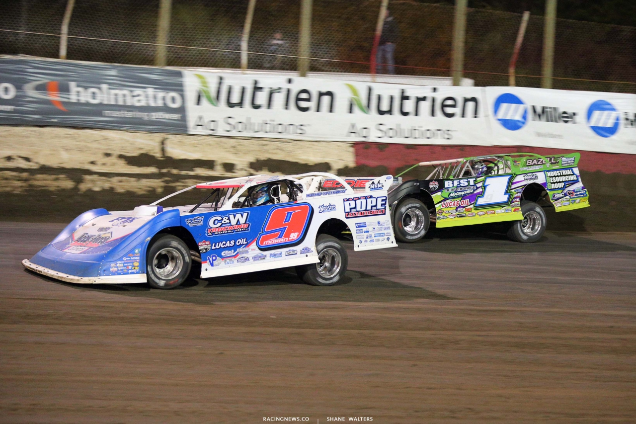Devin Moran and Tyler Erb at East Bay Raceway Park - Lucas Oil Late Models 7618