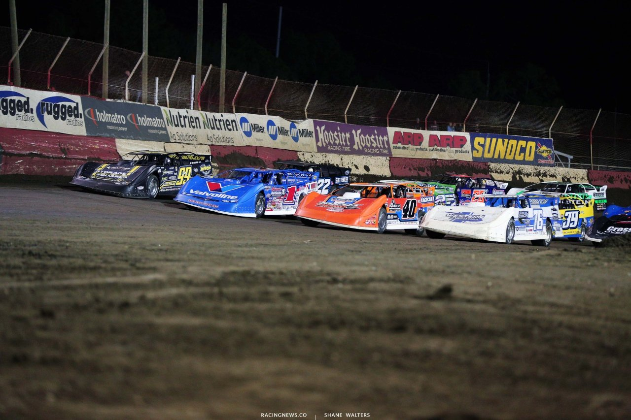 Four wide salute at East Bay Raceway Park - Dirt Late Models 8781