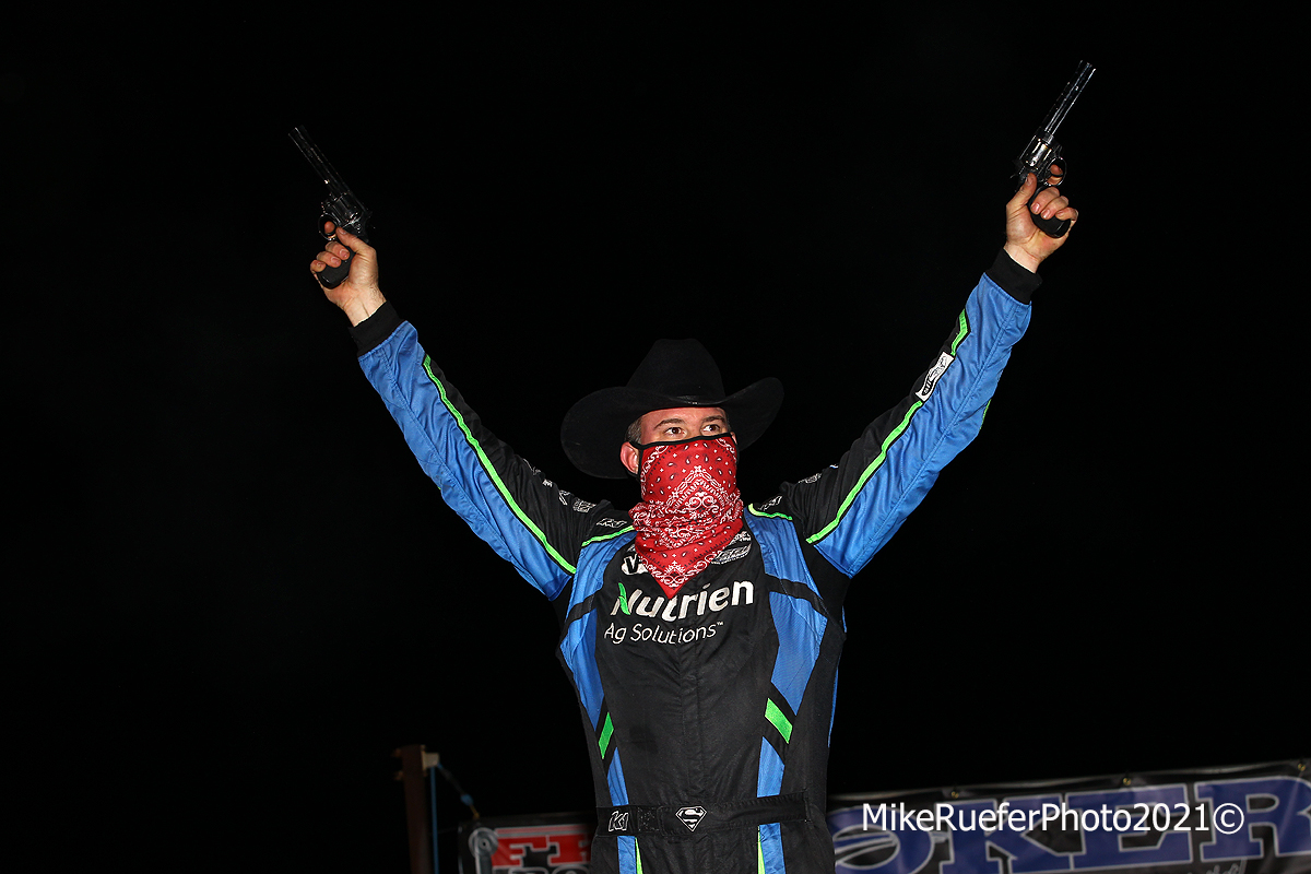 Jonathan Davenport in victory lane of Wild West Shootout