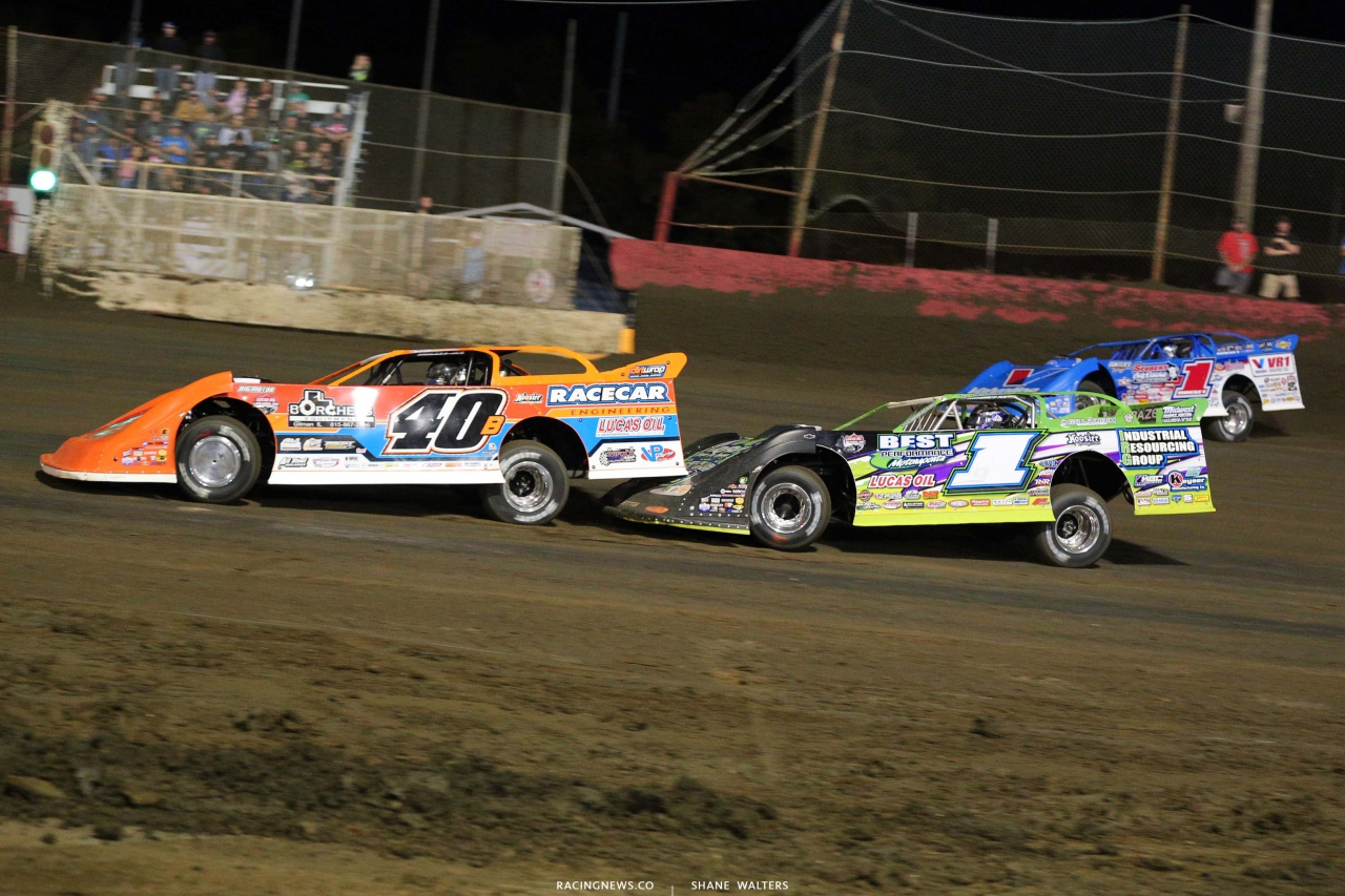 Kyle Bronson, Tyler Erb and Brandon Sheppard at East Bay Raceway Park - Dirt Late Model Racing 7550