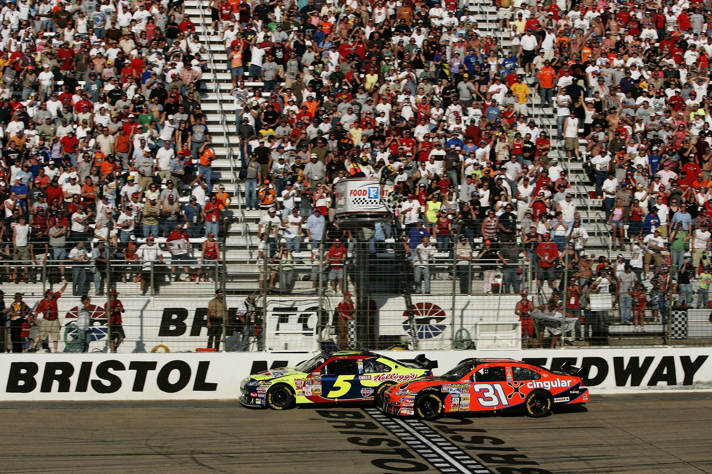 Kyle Busch and Jeff Burton - First COT race - Bristol Motor Speedway - NASCAR Cup Series
