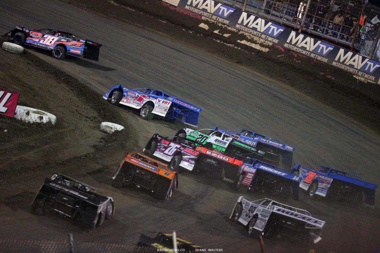Mike Whitener, Brandon Sheppard, Jimmy Owens, Brandon Overton, Josh Richards at East Bay Raceway Park - Lucas Oil Late Model Dirt Series 8242
