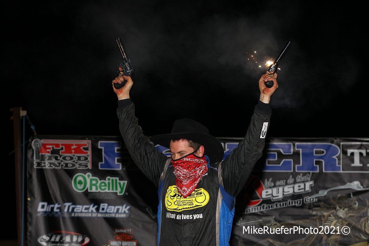 Ricky Thronton Jr shoots guns in victory lane at Wild West Shootout
