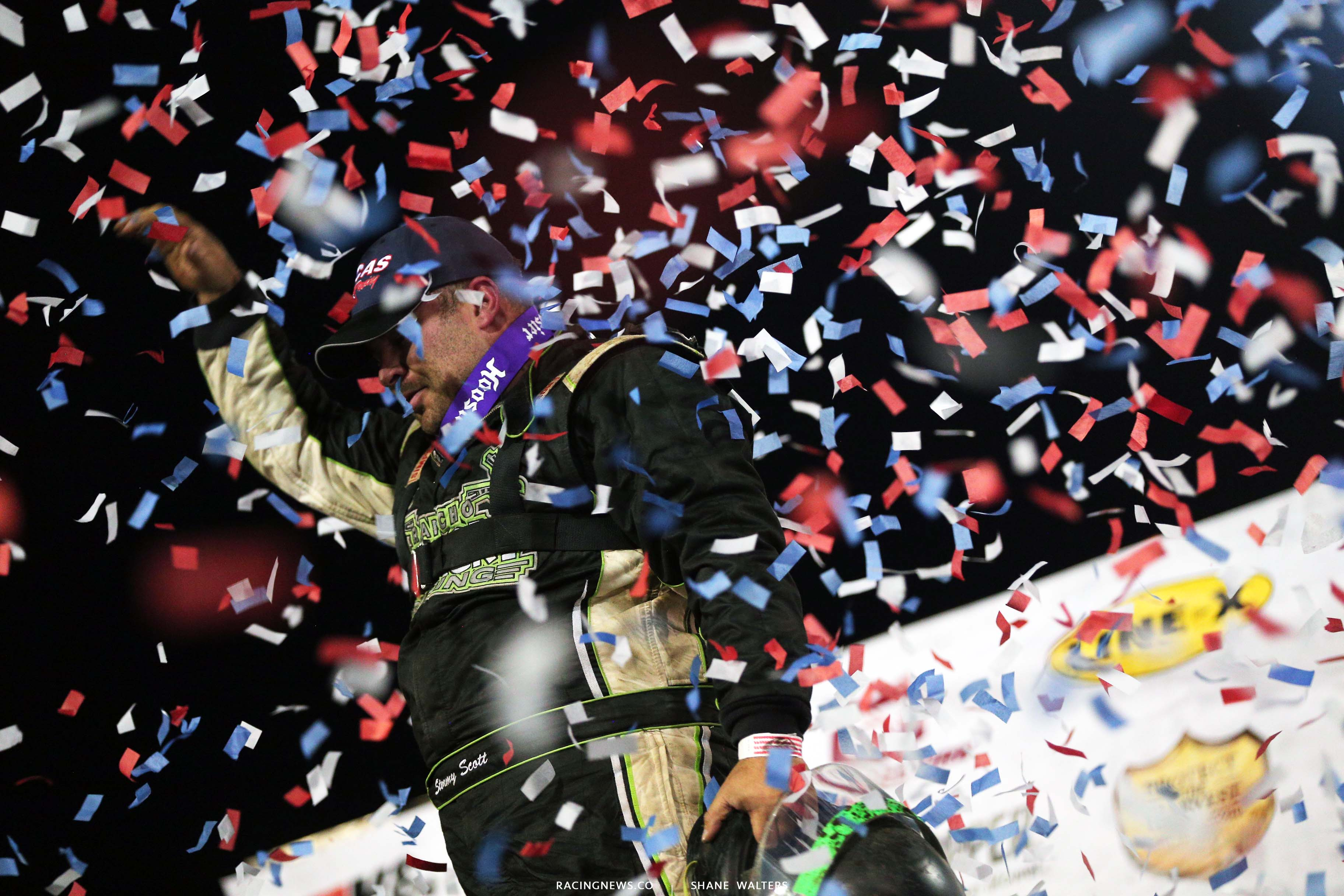 Stormy Scott in victory lane at East Bay Raceway Park - Lucas Oil Late Model Dirt Series 8193