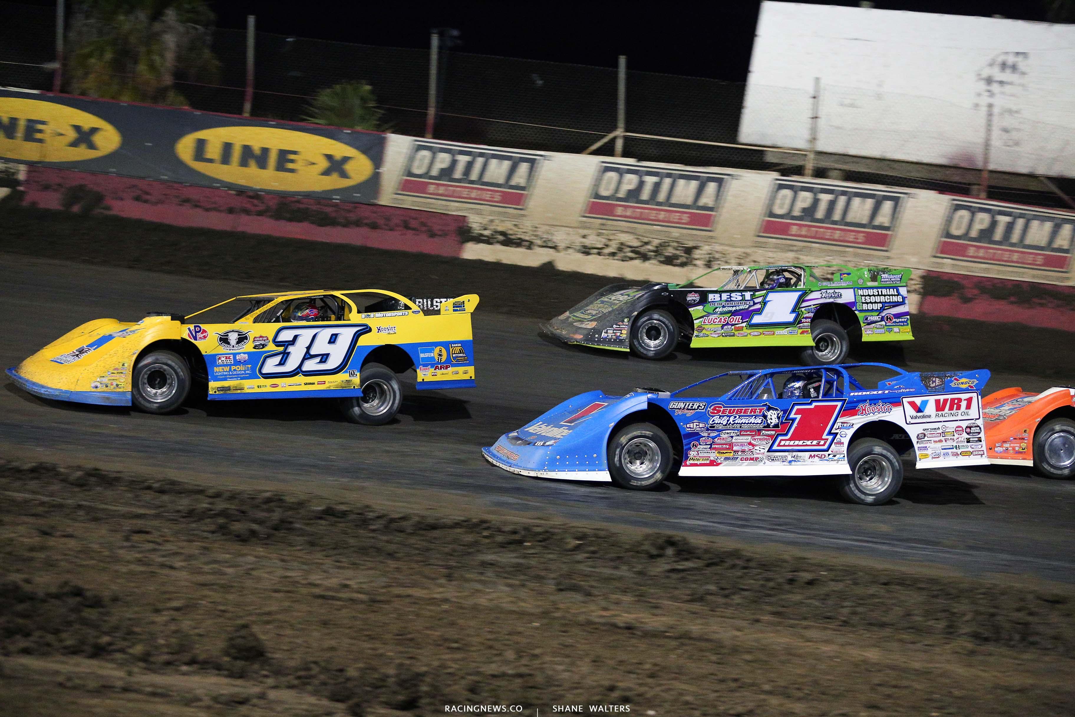 Tim McCreadie, Tyler Erb and Brandon Sheppard at East Bay Raceway Park - Lucas Oil Late Model Dirt Series 8919
