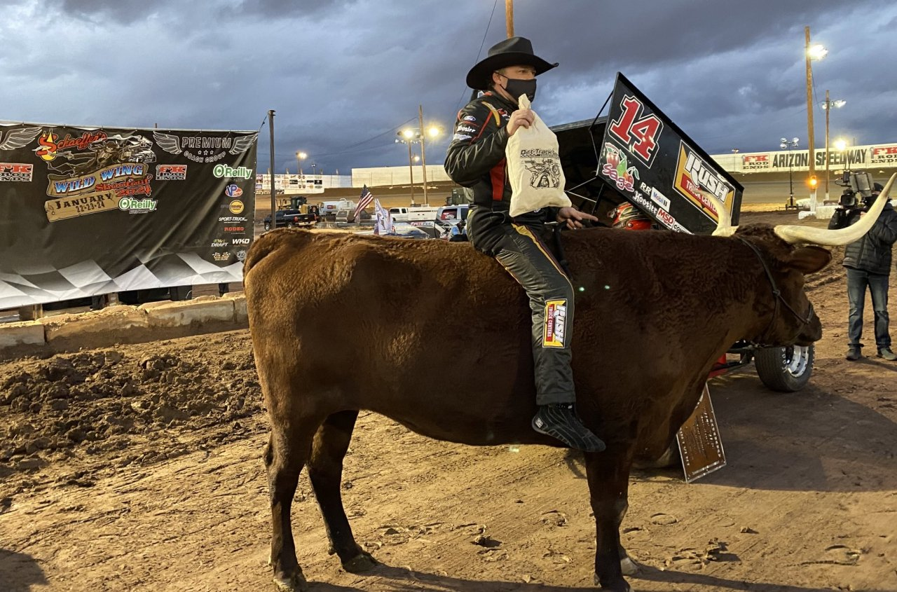 Tony Stewart on a bull at Arizona Speedway - Wild Wing Shootout