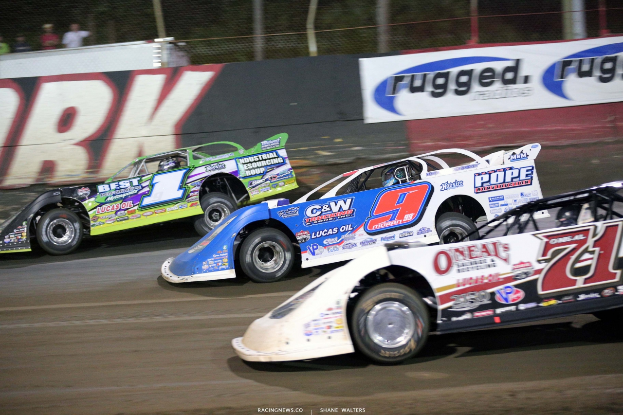 Tyler Erb, Devin Moran and Hudson O'Neal at East Bay Raceway Park - Three wide dirt racing 7648