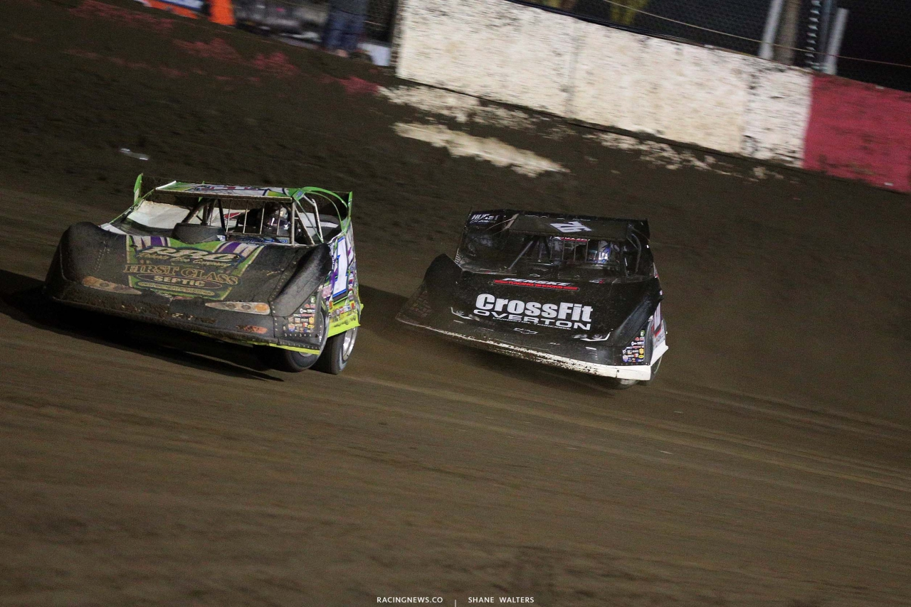 Tyler Erb and Brandon Overton at East Bay Raceway Park - Lucas Late Models 7946