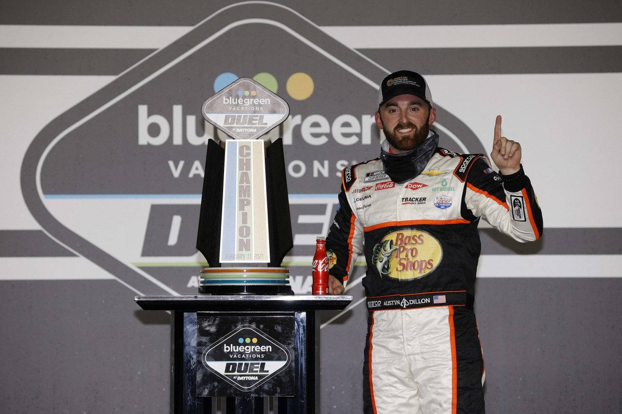 Austin Dillon in victory lane in the Duel at Daytona - NASCAR Cup Series