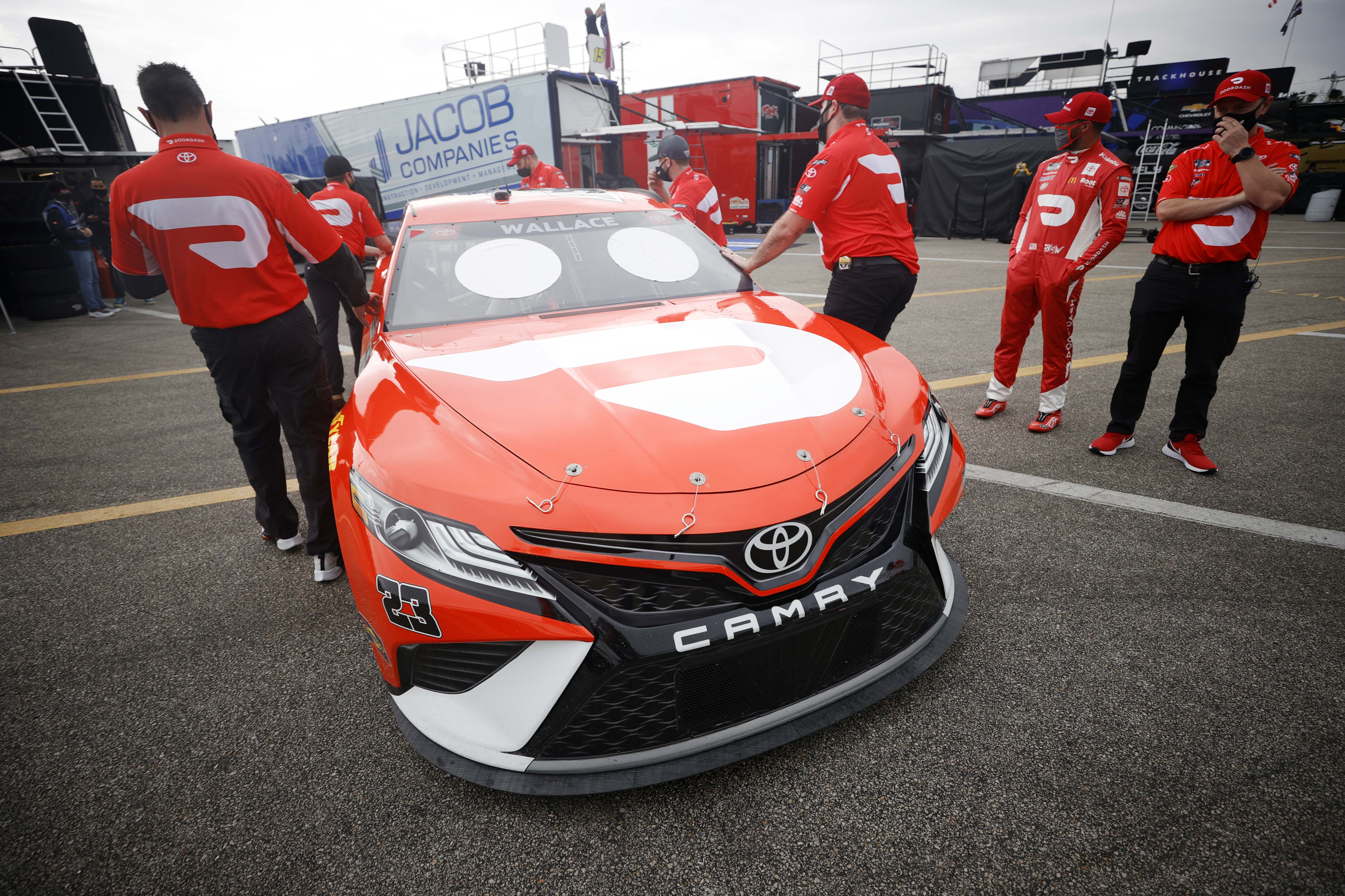 Bubba Wallace in the garage area at Daytona International Speedway - NASCAR Cup Series