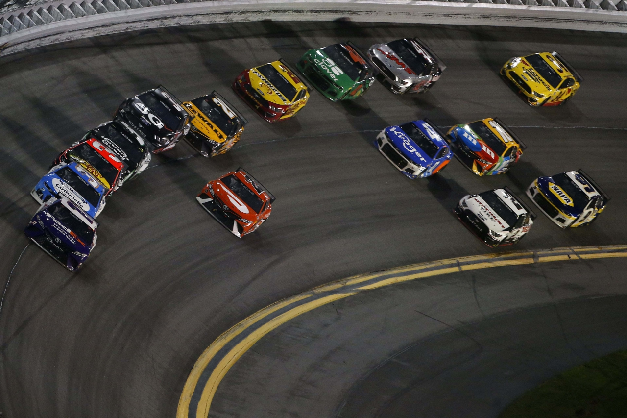 Denny Hamlin leads in the Daytona 500 - NASCAR Cup Series