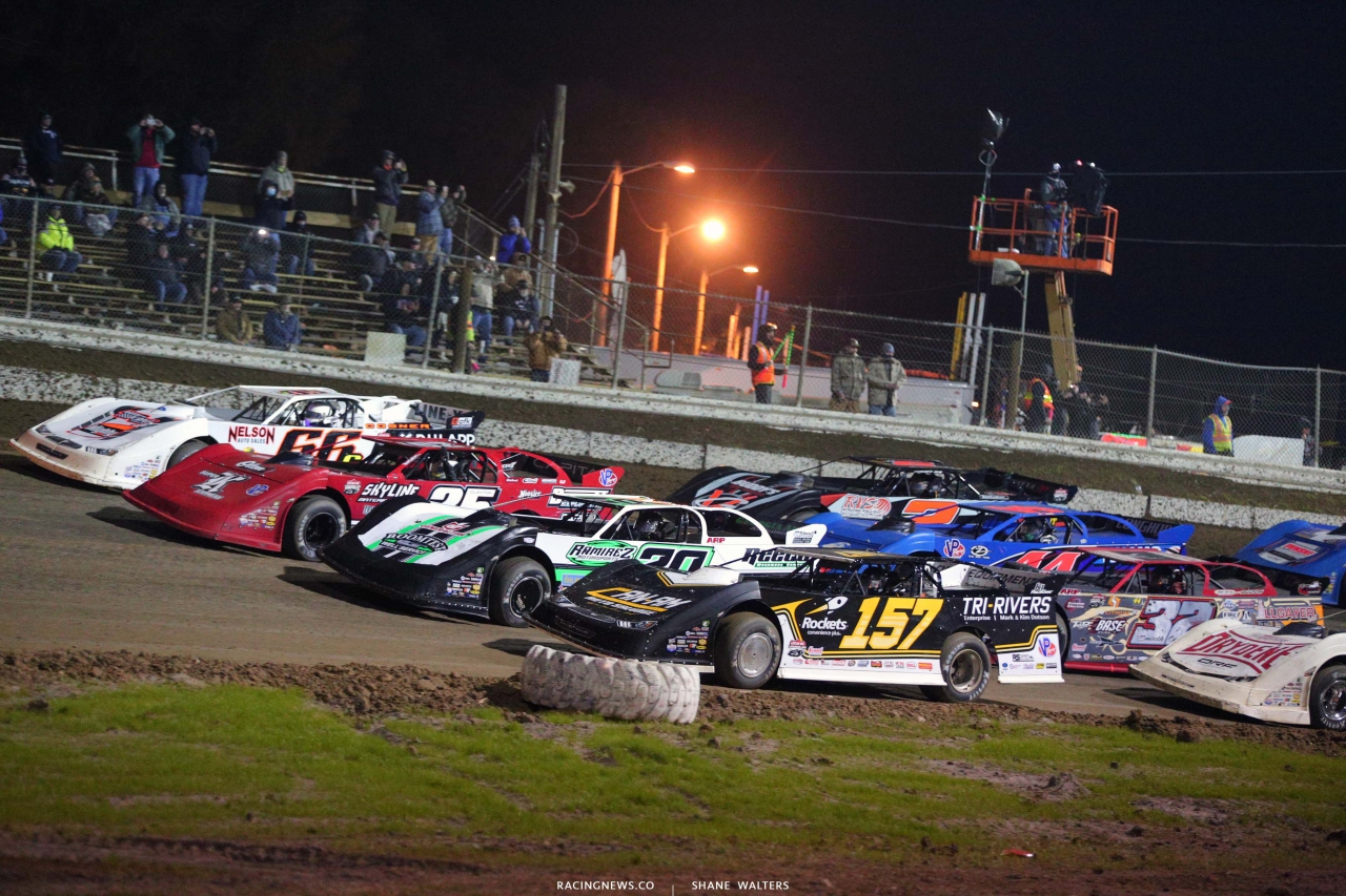 Four wide salute at Bubba Raceway Park - Dirt Late Model Racing 9313