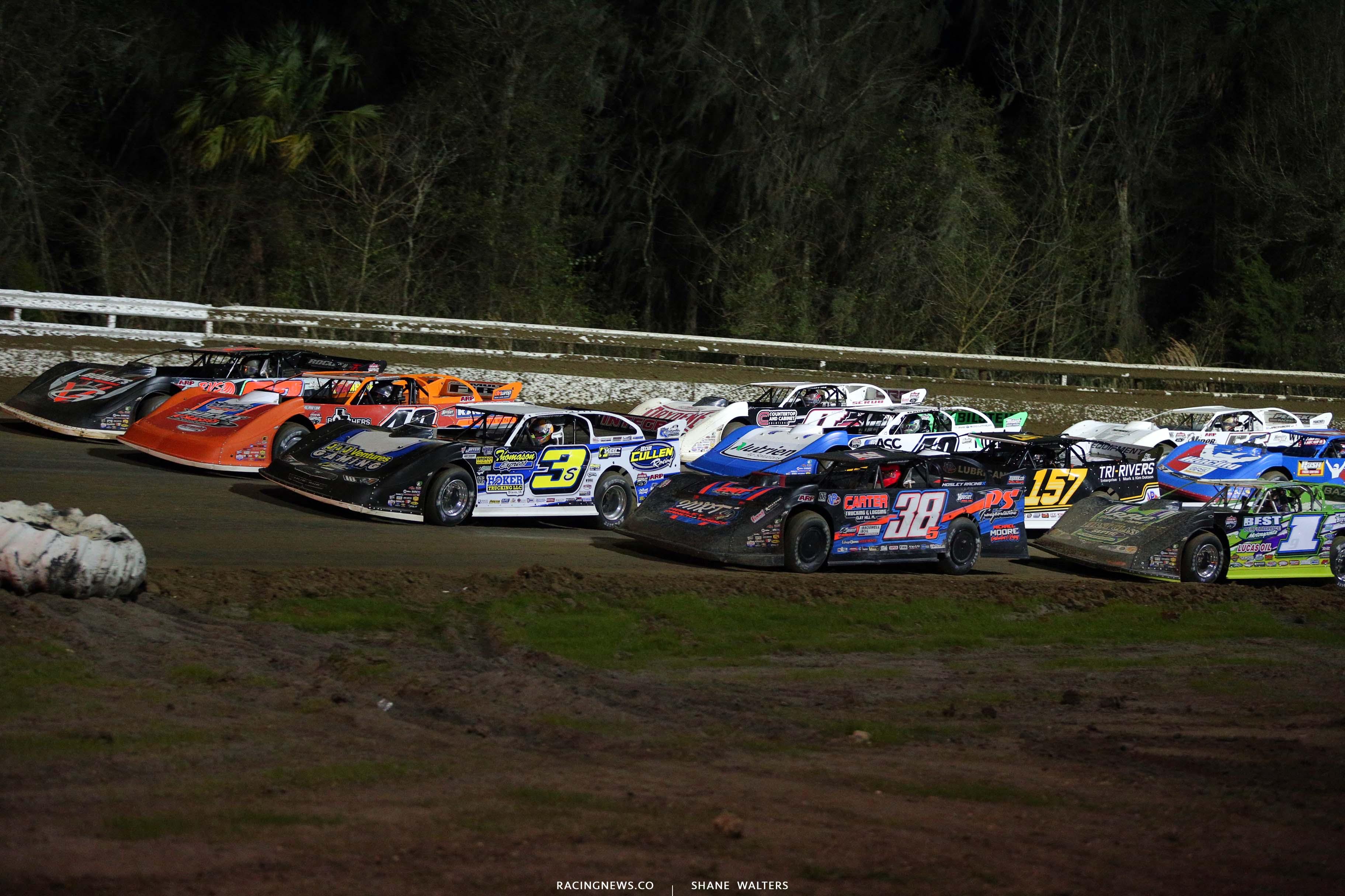 Four wide salute at Bubba Raceway Park - Lucas Oil Late Model Dirt Series 9057