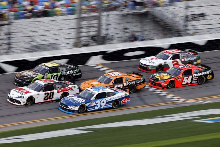 Harrison Burton, Jeb Burton and Daniel Hemric at Daytona International Speedway - NASCAR Xfinity Series