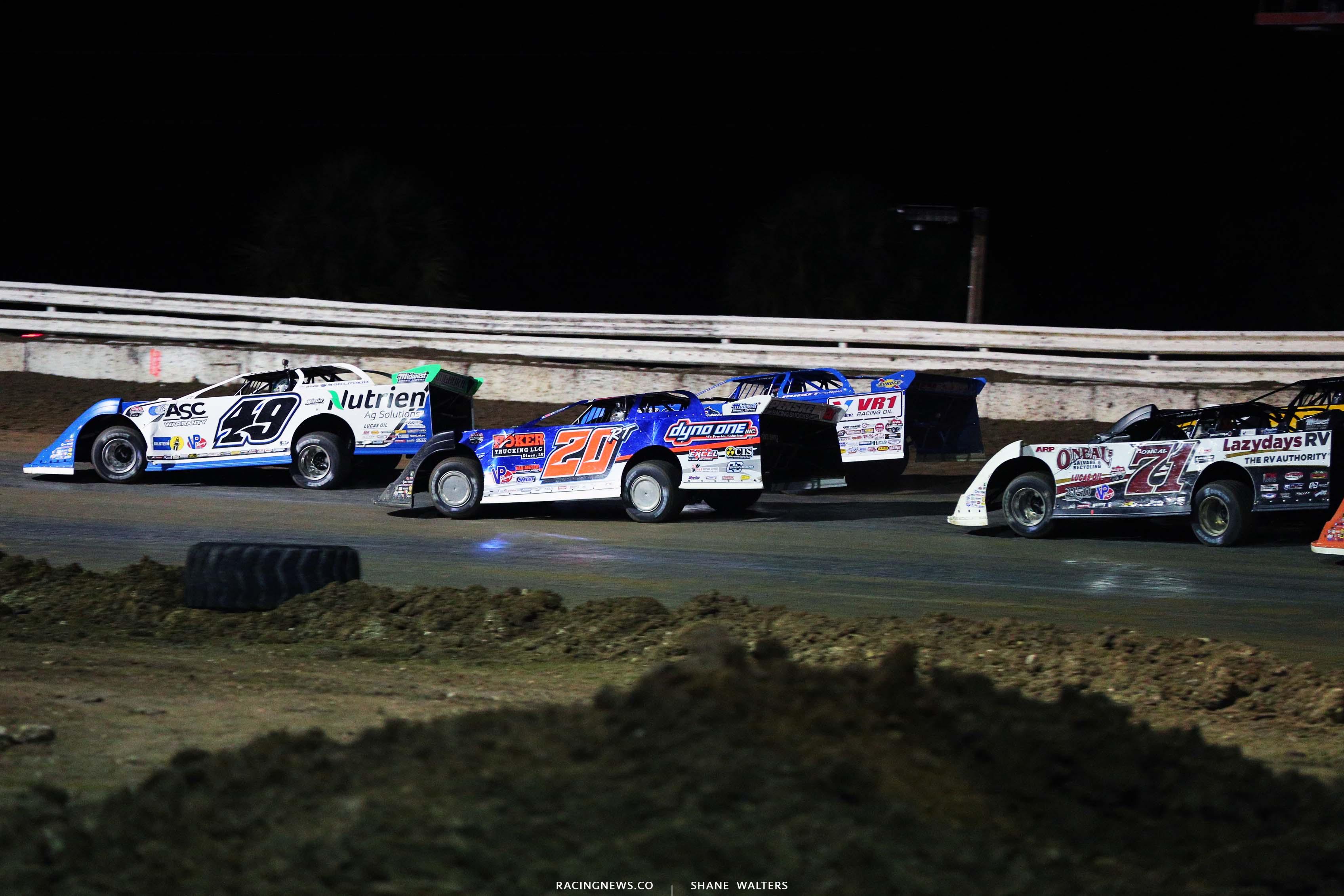 Jonathan Davenport, Ricky Thornton Jr, Brandon Sheppard and Hudson O'Neal at Bubba Raceway Park - Lucas Oil Late Model Dirt Series 9111