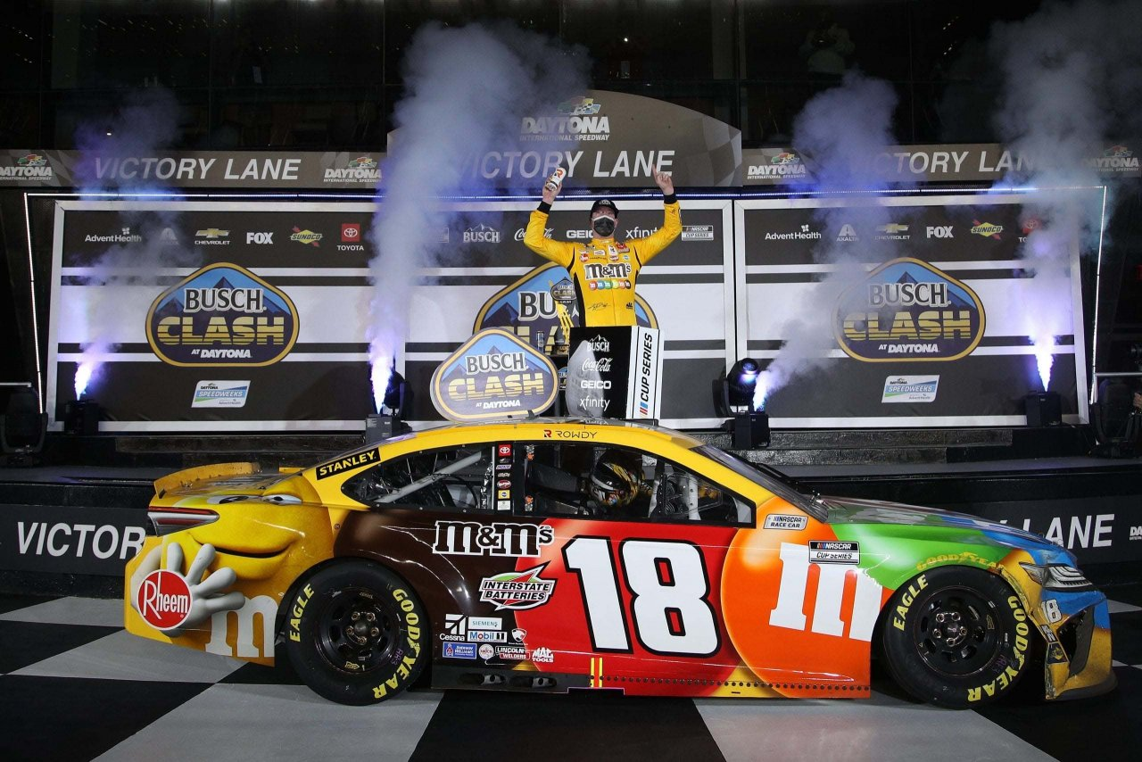 Kyle Busch is victory lane in the Clash at Daytona - NASCRA Cup Series