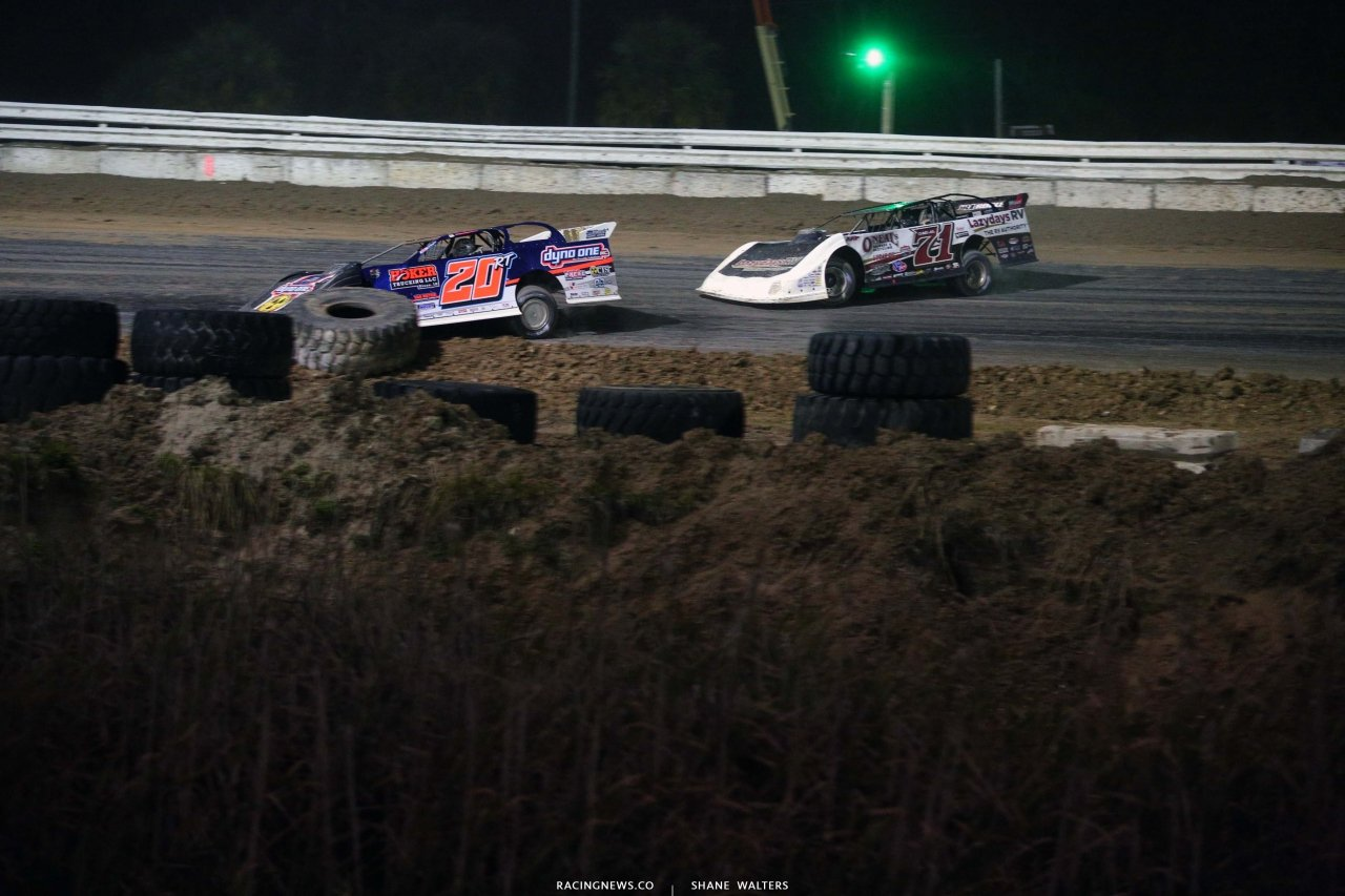 Ricky Thornton Jr and Hudson O'Neal at Bubba Raceway Park - Dirt Late Model Racing 9135