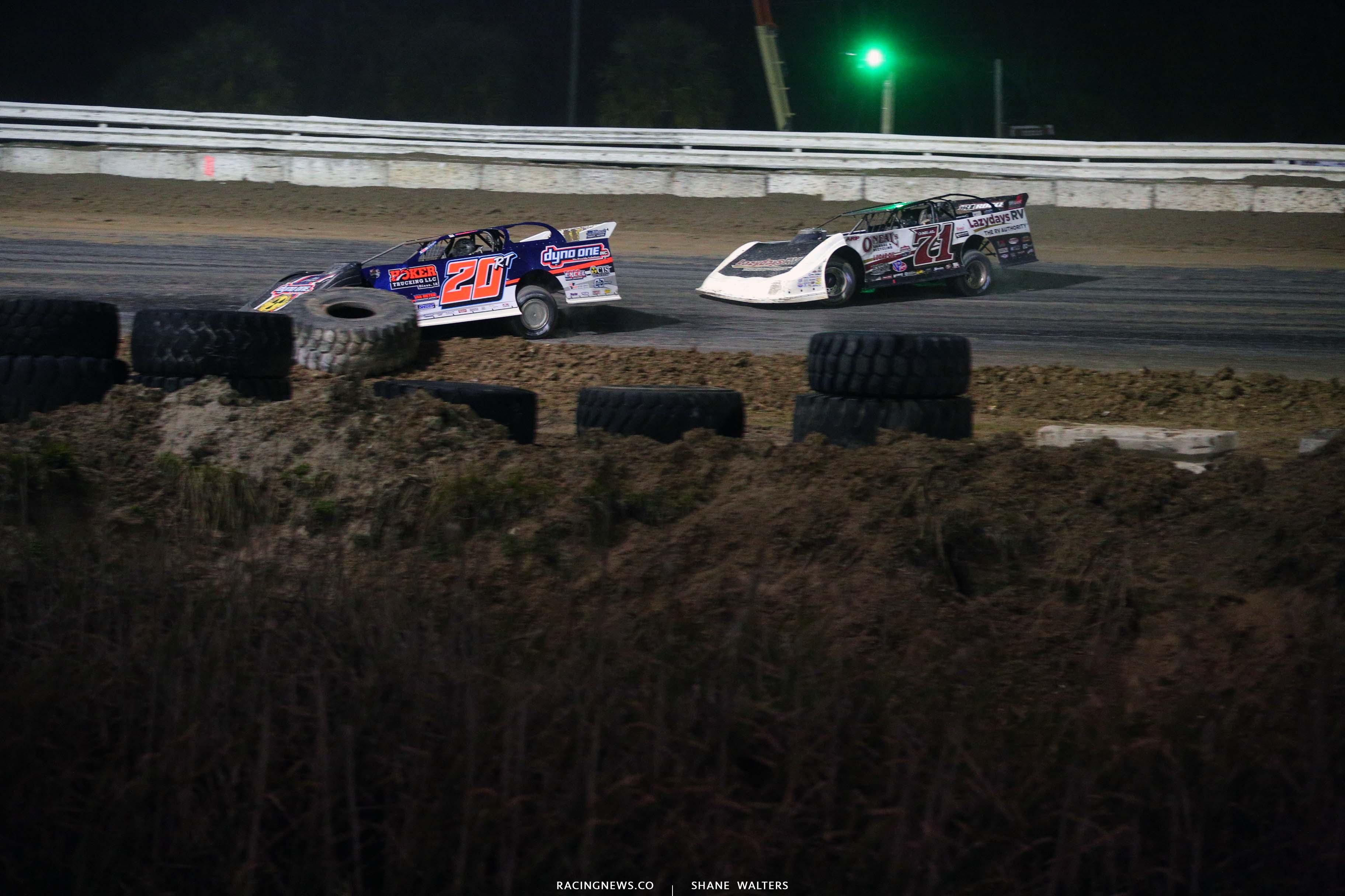 Ricky Thornton Jr and Hudson O'Neal at Bubba Raceway Park - Dirt Late Model Racing 9135