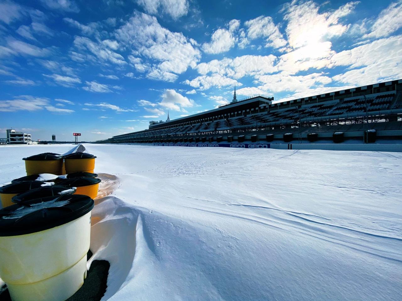 Snow at Pocono Raceway