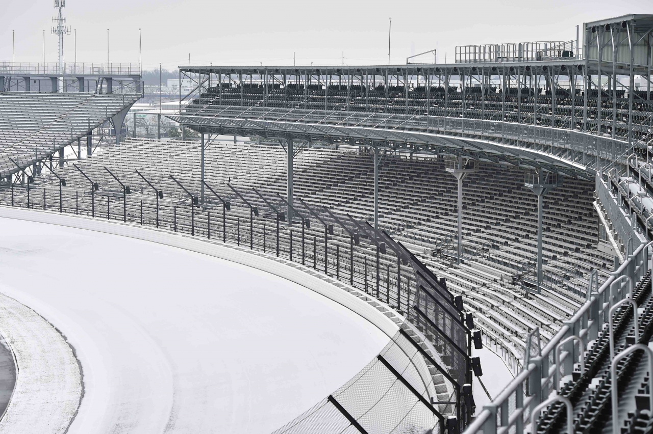 Snow storm at Indianapolis Motor Speedway