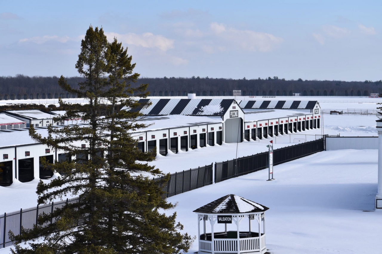 Snow storm at Pocono Raceway