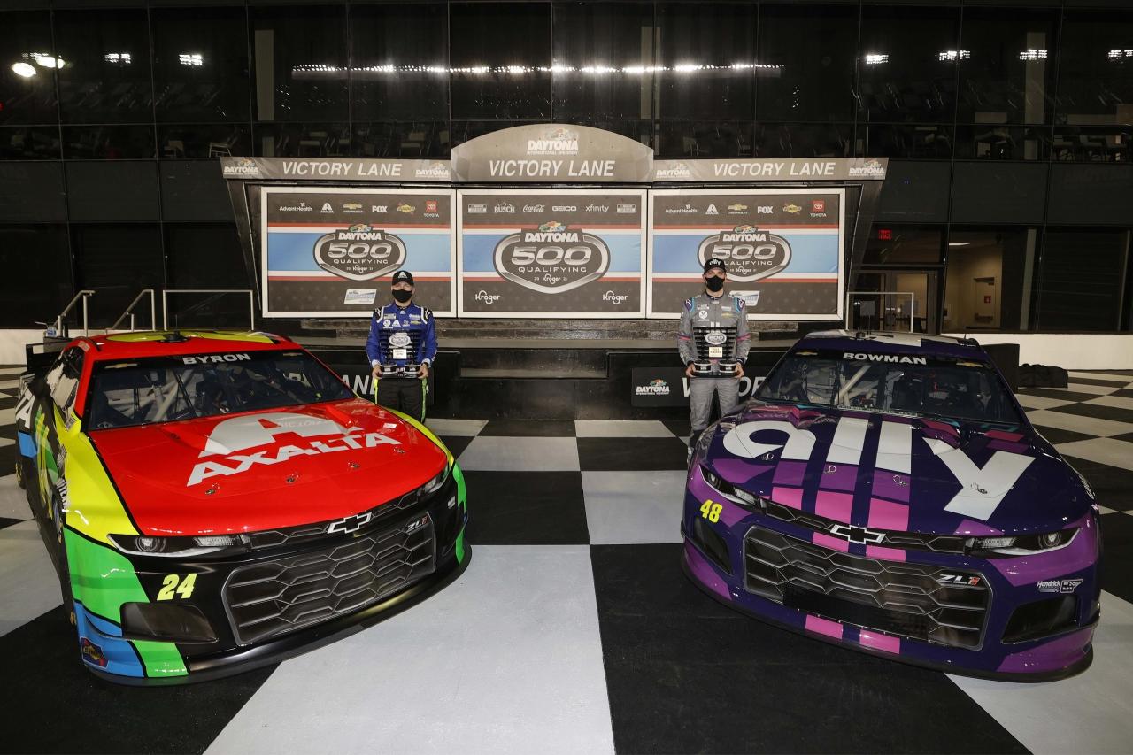 William Byron and Alex Bowman - Daytona 500 pole - Daytona International Speedway - NASCAR Cup Series