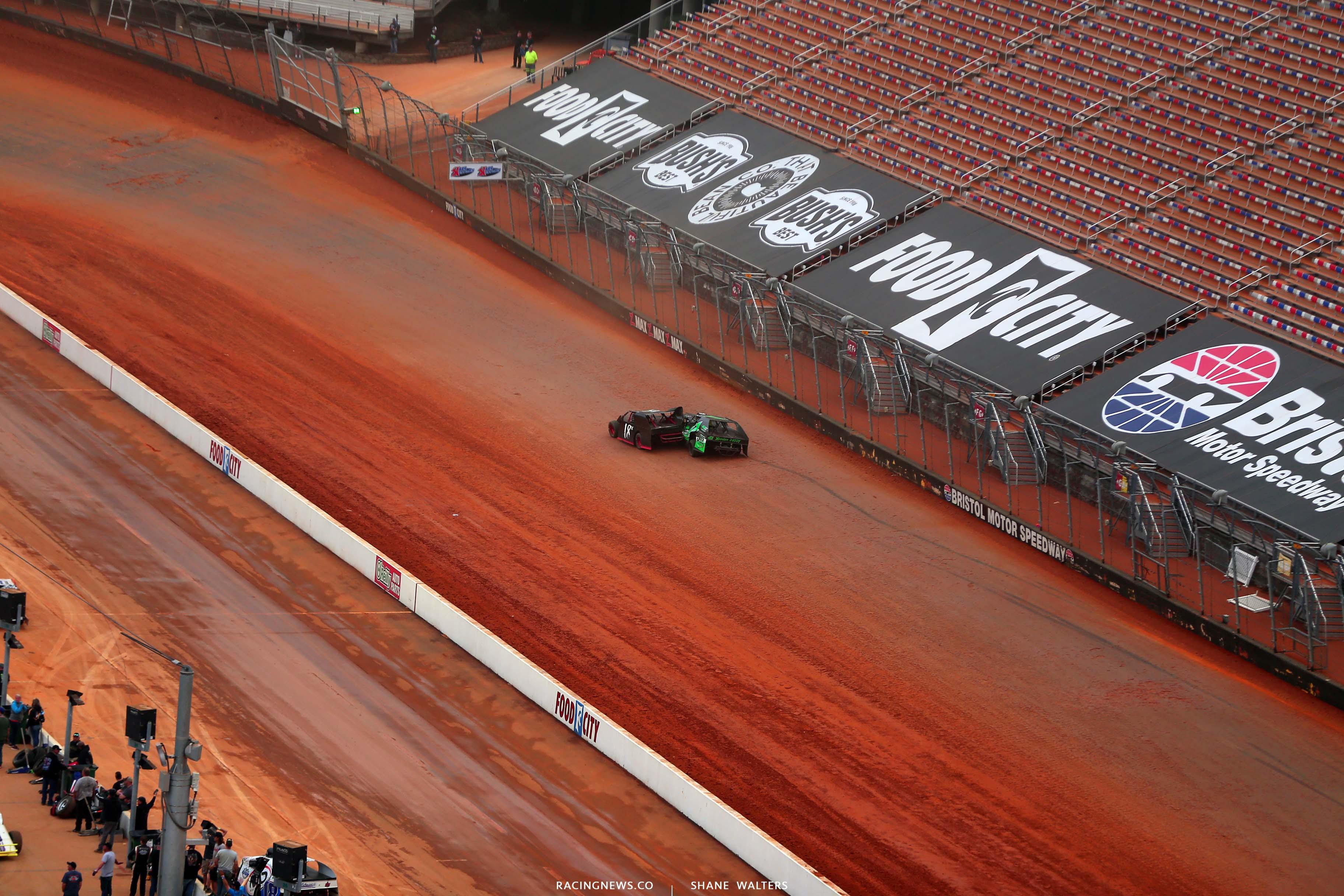 A - Dirt modified crash at Bristol Motor Speedway