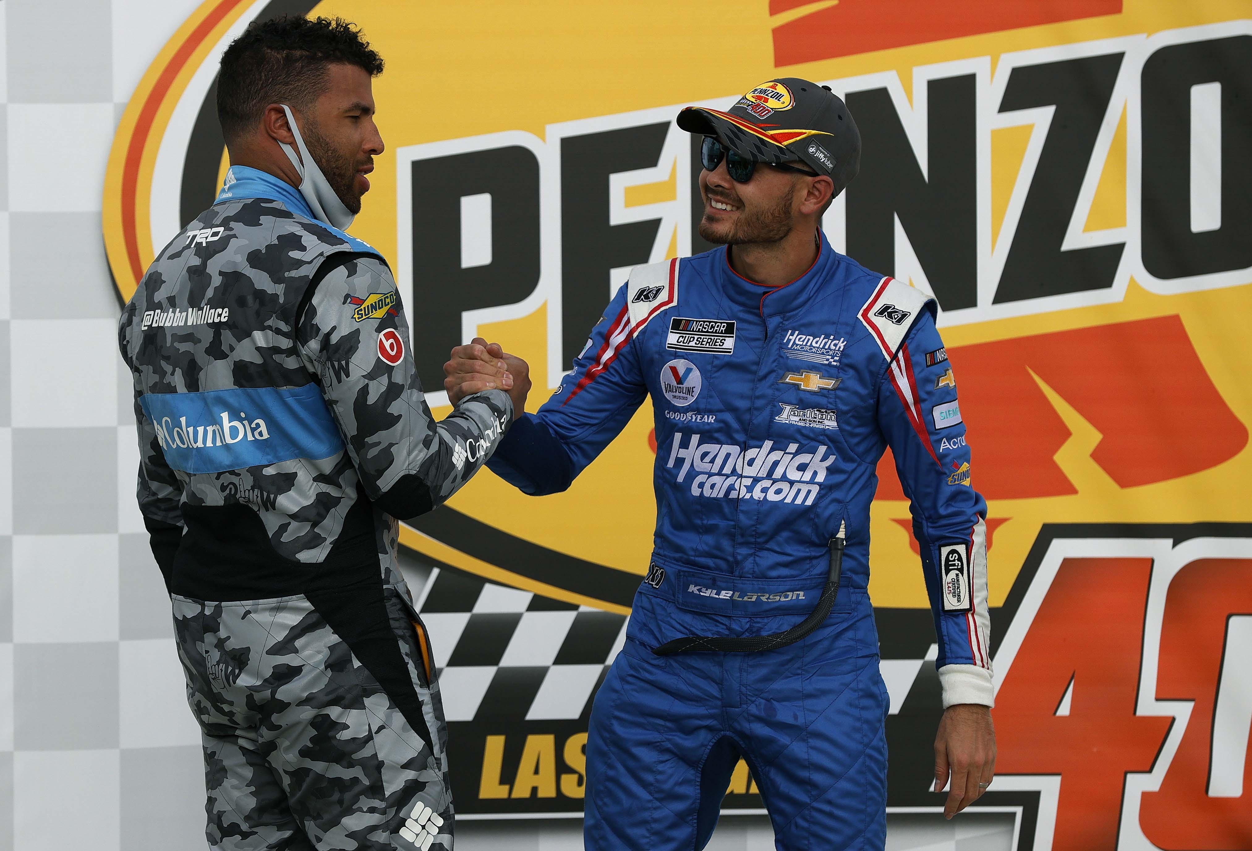 Bubba Wallace congrats Kyle Larson in victory lane at Las Vegas Motor Speedway - NASCAR Cup Series